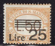 San Marino 1943 Segnatasse L. 25 On 50 MNH** - Lot. 4629 - Postage Due