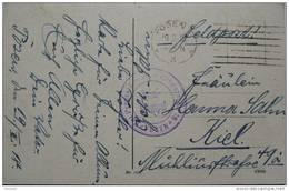 1918 GERMANY FELDPOST POSTCARD POSEN TO KIEL WITH BRIEF STEMPEL STAMP - Germania
