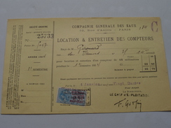 Service Des Eaux Paris LOCATION & ENTRETIEN Des COMPTEURS - Anno 1924 ( Zie Foto Details ) ! - France