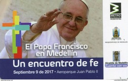 Lote TTR3, Colombia, Papa Francisco, Medellin, Tiquete, Metro Card, Commemorative Card, Limited Edition, Pope Visits - Trenes