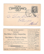 UX7 Postal Card 1884 Cincinnati OH Duplex Van Bibber Roller Composition Advertisement - Postal History