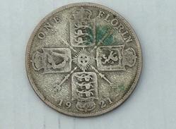 UK GRANDE BRETAGNE ONE 1 Florin 1921 ARGENT SILVER - 1902-1971 : Monnaies Post-Victoriennes