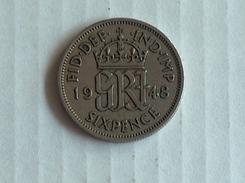 UK GRANDE BRETAGNE SIX  6 Pence 1948 ARGENT SILVER - 1902-1971 : Monnaies Post-Victoriennes