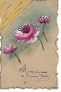 """Carte  Celluloid  - Roses  """" Agréez  Mes  Voeux  De Bonne  Fete """" - Postcards"""