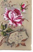 """Carte  Celluloid  - """"Bonne  Fete - La  Plus  Jolie  Rose Est Celle De L,Amitié """" - Postcards"""
