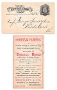 UX7 Postal Card 1883 Philadelphia PA Duplex Cancel Merchant & Co Advertisement Roofing Plates - Postal History