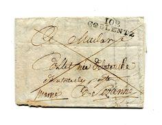 !!! PRIX FIXE : DEPT CONQUIS, 102 RHIN ET MOSELLE, MARQUE POSTALE DE COBLENTZ SUR LETTRE AVEC TEXTE NON DATE - 1792-1815: Départements Conquis
