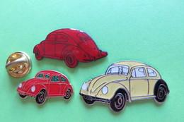Pin's, Auto,Voiture, 3 VW Käfer, Coccinelle, - Volkswagen