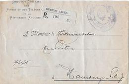 ARGENTINA 1910 - R-Letter Direction Générale Des Postes Et Des Télégraphes To Hamburg - Entiers Postaux