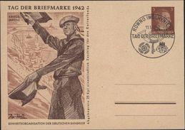 Entier Adolf Hitlersurcharge Ukraine Occupation Ukraine Tag Der Briefmarke 1942 Kriegs Marine - Postwaardestukken