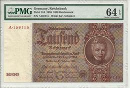 Germany, Reichsbank, 1000 Reichsmark 1936 P184 Graded 64 EPQ By PMG (Choice Uncirculated) - [ 4] 1933-1945 : Third Reich