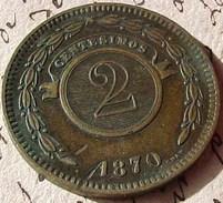 REPUBLICA DEL PARAGUAY . 2 CENTESIMOS 1870 , OLD COIN - Paraguay