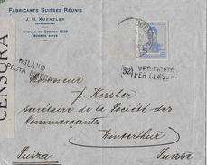 ARGENTINA 1918 - Letter(32) Verificato Per Censura MILANO To Winterthur/SUIZA - Argentine