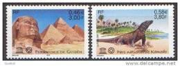 France - Timbre De Service N° 124 Et 125 ** UNESCO 01 - Pyramides Et Parc De Komodo - Neufs