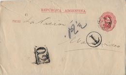 REPUBLICA ARGENTINA 1888 - Letter From Montevideo,  Taxe Postage - Entiers Postaux