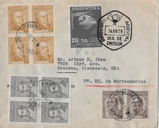 ARGENTINA 1956 - DIA DE EMISION, Letter From Buenos Aires To Wisconsin/USA - FDC