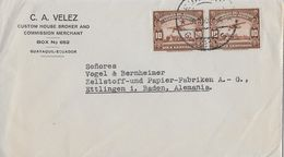 ECUADOR SERVICIO AEREO 1938 - Letter C.A.Vellez To Ettlingen Alemania - Equateur