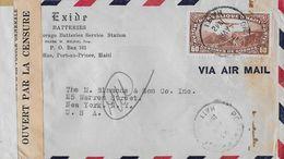 REPUBLUQUE HAITI POSTES AVION 1947 - Censure-Letter From Port Au Prince To Ney York - Haïti