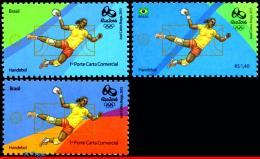 Ref. BR-OLYM-E20 BRAZIL 2015 SPORTS, OLYMPIC GAMES, RIO 2016,, HANDBALL, STAMPS OF 2ND & 4TH SHEET, MNH 3V - Brazil
