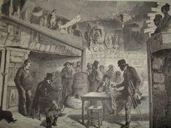 Gravure PARIS XIXe : Intérieur Du Lapin Blanc - Estampas & Grabados