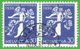 """SWT SC #259 PR 1939 National Exposition Of 1939 """"LUZERN / 9-30-39,"""" CV $16.00 (I) W/2 Nibbed Perfs @ LL Of L Stamp - Used Stamps"""
