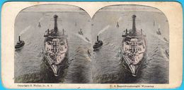 U.S. SUPERDREADNAUGHT WYOMING - United States Navy USN USA Battleship Warship Ship Vintage Stereoscope Stereo Photo Card - Stereoscopes - Side-by-side Viewers