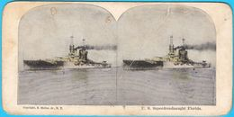U.S. SUPERDREADNAUGHT FLORIDA - United States Navy USN USA Battleship Warship Ship Vintage Stereoscope Stereo Photo Card - Stereoscopes - Side-by-side Viewers