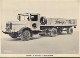 BLEICHERT 8-Tonnen-Sattelschlepper 1939, Auf AK Mit DR 687 EF Rennwagen Mit SoSt: Berlin Charlottenburg IAA 28.2.1939 - Camions & Poids Lourds