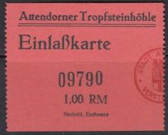 Attendorn, Tropfsteinhöhle, Atta-Höhle, Eintrittskarte Erwachsene, 1939 - Tickets D'entrée