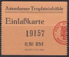 Attendorn, Tropfsteinhöhle, Atta-Höhle, Eintrittskarte Kind, 1939 - Tickets D'entrée