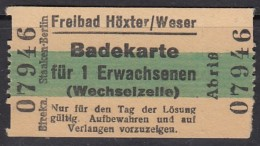 Höxter Weser, Freibad, Eintrittskarte, Badekarte Erwachsener Mit Umkleidekabine 1939 - Tickets D'entrée