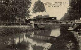 CLICHE TRES RARE  ASFELD LE PONT DU CHEMIN DE FER SUR LE CANAL CRACK IN LEFT CORNER SEE SCAN - France