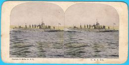 U.S.S. D-3 (SS-19) SUBMARINE - United States Navy USN USA Sous-marin U-boot Sottomarino Submarino Old Stereo Photo Card - Stereoscopes - Side-by-side Viewers
