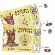 MOLDOVA 1 LEU 2005 & 2006 P-8f,8g UNC  [MD108f, 108g] - Moldova