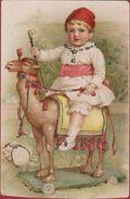 Old Postcard Kind Child Enfant Sur Chameau Kameel Camel Toy Jouet Speelgoed (Bijgeneden/cut) - Dessins D'enfants