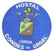 ,ETIQUETA DE HOTEL  - HOSTAL CONDES DE URGEL  -LERIDA - Hotel Labels
