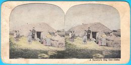 A SQUATTER'S DUG OUT - IDAHO ... Original Vintage Stereoscope Stereo Photo Card Carte Stéréoscopique * United States USA - Stereoscopes - Side-by-side Viewers