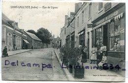 - SAINT - GAULTIER ( Indre ) - Rue De Lignac, Bar Tabac DAUBORD, épaisse, 1911 ?, Animation, écrite,TBE, Scans. - France