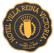 ,ETIQUETA DE HOTEL  - HOTEL VILLA REINA VICTORIA  -LLORET DE MAR - Hotel Labels