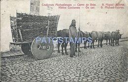 78714 PORTUGAL S. MIGUEL AÇORES COSTUMES NATIVE CART A COW CARRO DE BOIS CIRCULATED TO ARGENTINA POSTAL POSTCARD - Portugal