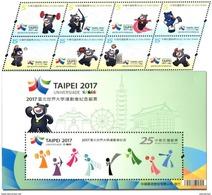 Taiwan 2017 Taipei Summer Universiade Stamps & S/s Archery Taekwondo Baseball Basketball Volleyball Table Tennis Bear - 1945-... République De Chine