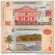SURINAME       5 Dollar       P-157        1.1.2004         UNC - Suriname