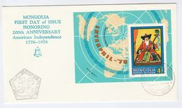 1976 MONGOLIA FDC Miniature Sheet US BICENTENNIAL, MAP, INTERPHIL, MUSIC Stamps Cover - Us Independence