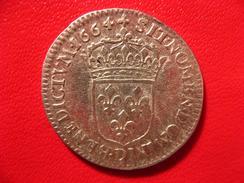 1/12 écu Louis XIV Buste Juvénile 1664 D Lyon 4425 - 1643-1715 Louis XIV Le Grand