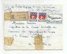 AFFRANCHISSEMENT COMPOSE SUR PLI RECOMMANDE DE SAINTE CECILE D'ANCORGE GARD DU 16/4/1968 - Marcophilie (Lettres)
