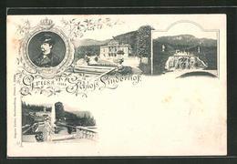 AK Ettal, Schloss Linderhof Mit Ludwig II.-Porträt - Germany