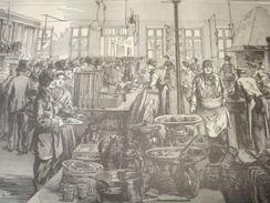 Gravure PARIS XIXe : Cuisine Du Petit Ramponneau Moderne , Barrière Rochechouart - Estampas & Grabados
