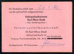 A7095 - Alte Mitteilungskarte - Verkehrsunfall - Volkspolizeikreisamt Karl Marx Stadt Chemnitz - Kennzeichen XP 63 - 61 - Sonstige