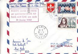 France - Lettre De 1960 - Oblit Paris Aviation - 1er Vol Paris New York Boeing 707 -  Exp Vers New York - France