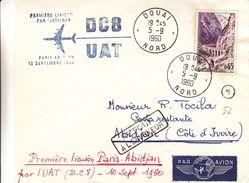 France - Lettre De 1960 - Oblit Douai - 1er Vol Paris Abidjan Par Jetliner DC8  -  Cahet D'Abidjan - France